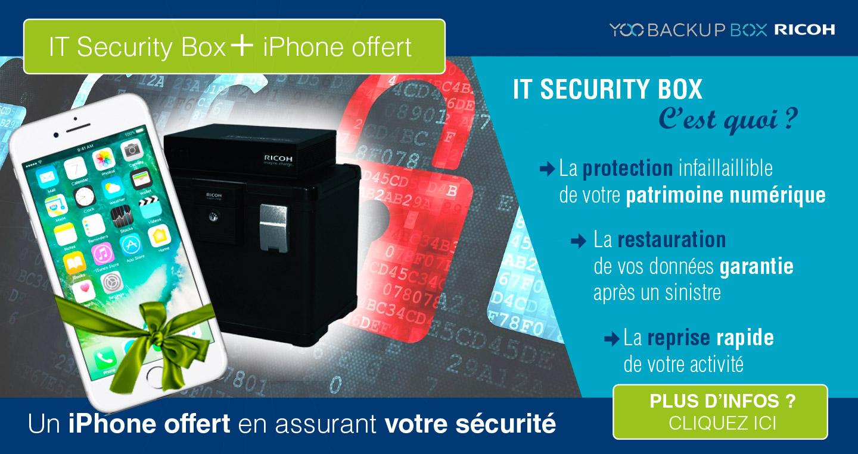 Gagnez un iPhone en assurant votre sécurité informatique : IT Security Box Yoo Backup Box Ricoh + iPhone offert - Protection infaillible de votre patrimoine numérique - Restauration de vos données garanties après un sinistre - Reprise rapide de votre activité