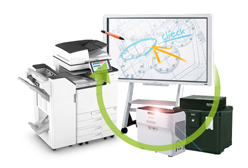 Multiofonctionele printers, videoprojector, IT Security BOX, interactive Whiteboard : interconnectie