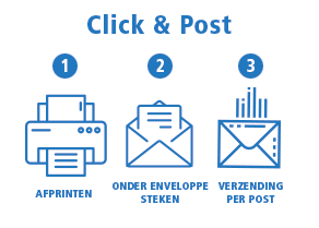 Click & Post Ricoh : 1 Afprinten - 2 Onder enveloppe steken - 3 Verzending per post