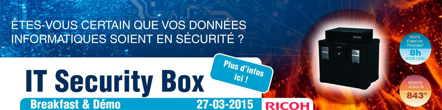 êtes-vous certain que votre patrimoine informatique soit en sécurité ? IT Security Box Breakfast and Demo le 27 mars 2015 - résiste à 843°- reste étahce pendant 8h sous l'eau